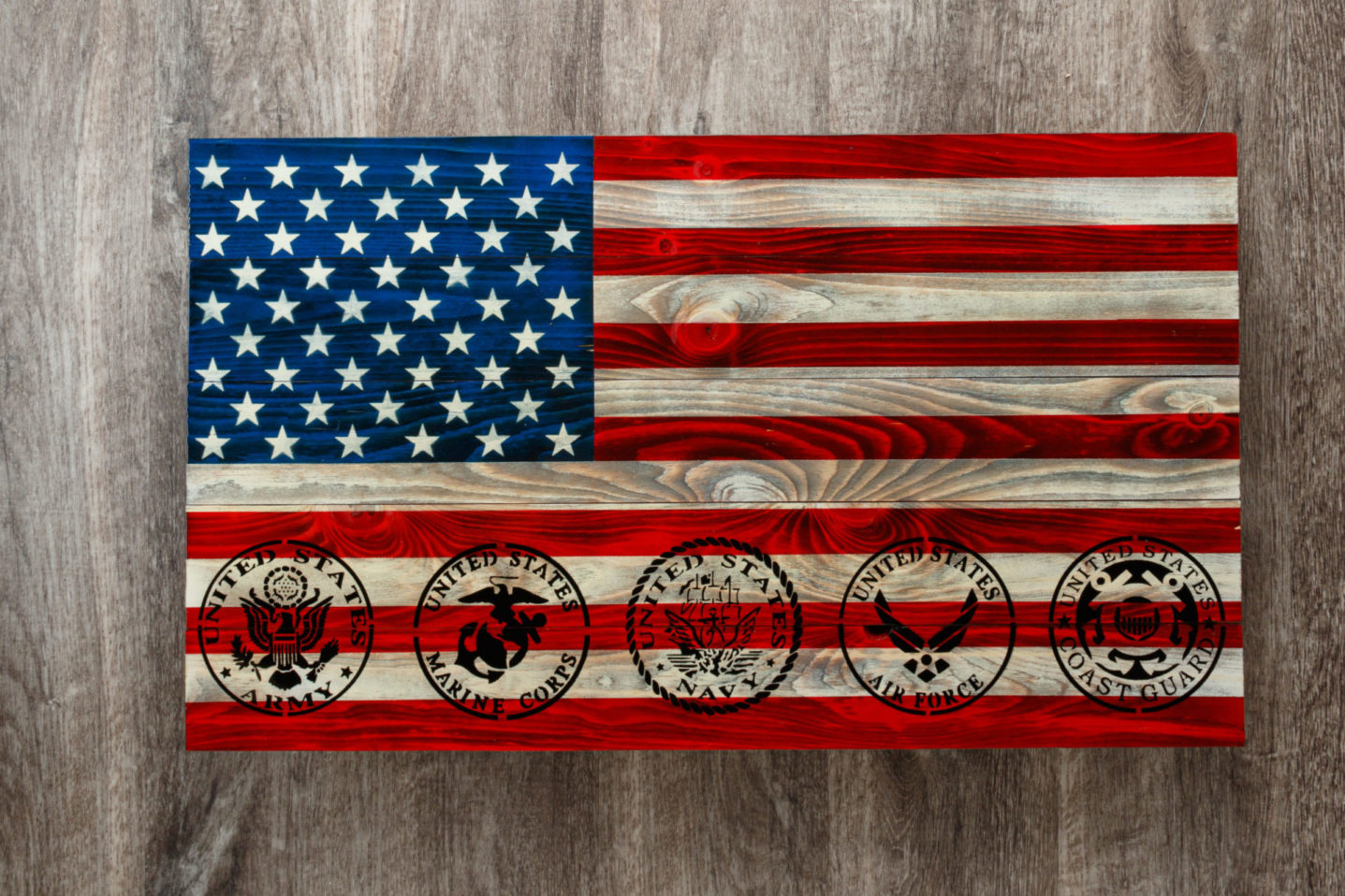Military wooden American flag wall art