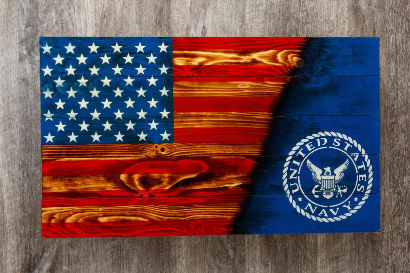 Navy Wooden flag wall art