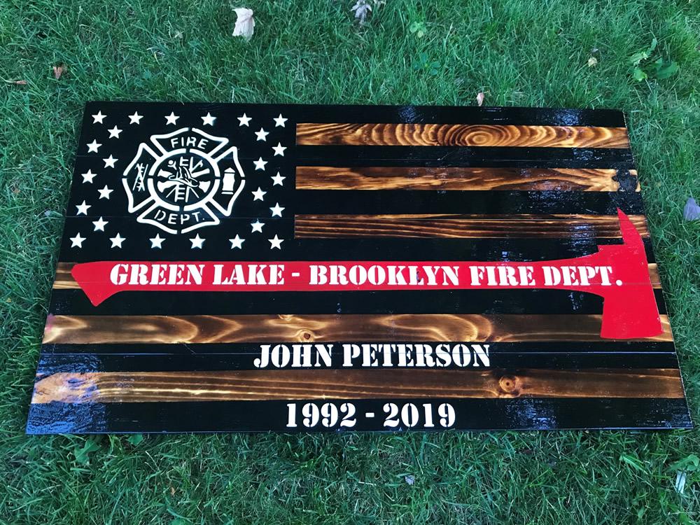 Firefighter wood flag