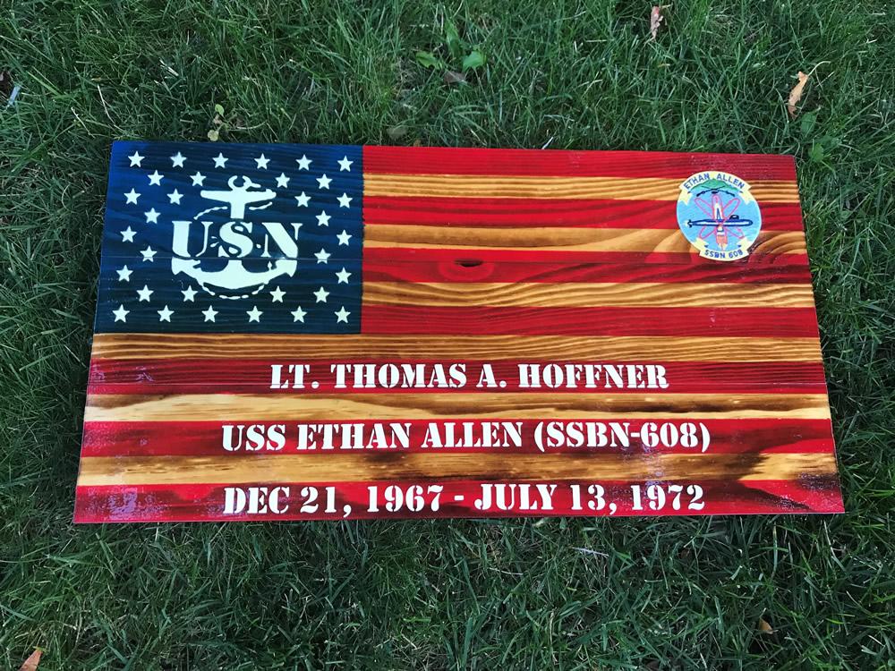 Navy American wood flag