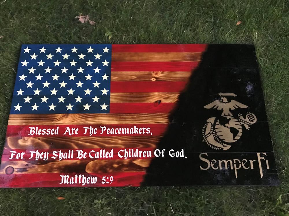 Marines American wood flag