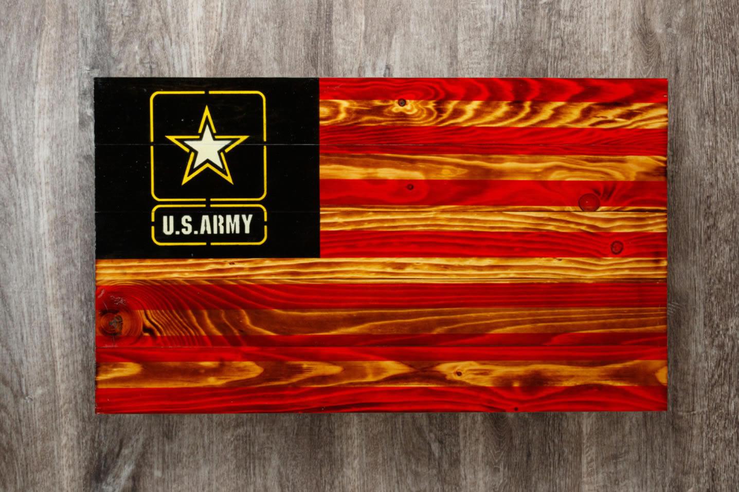 Army Wooden American flag wall art