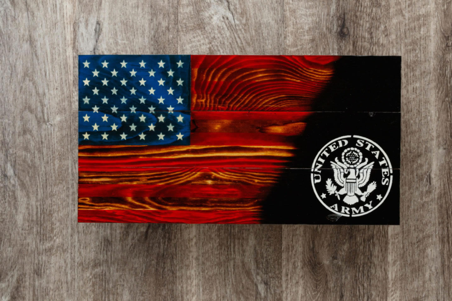 Wooden army flag torched