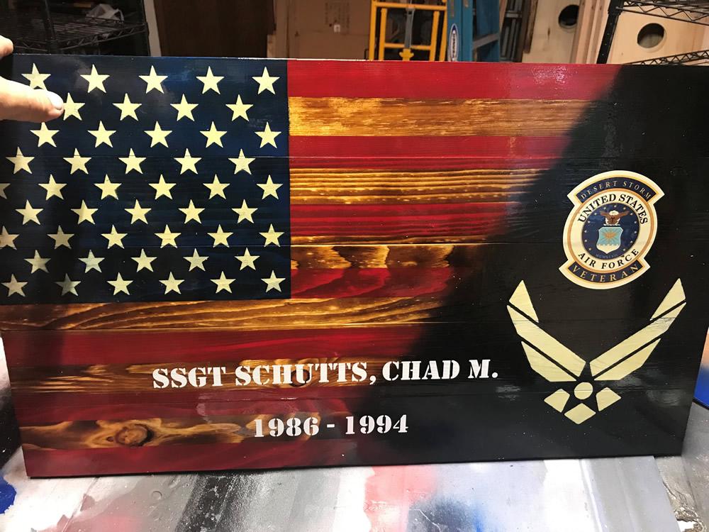 Airforce American wood flag