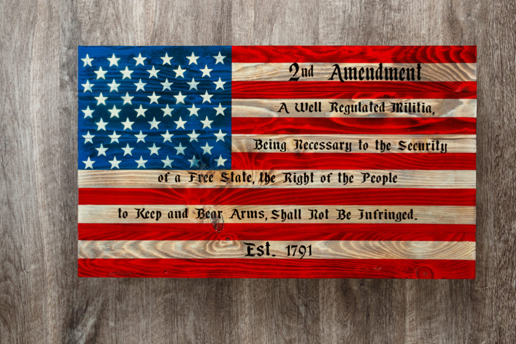 Second amendment wooden flag