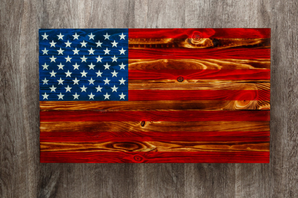 Torched American flag wooden wall art