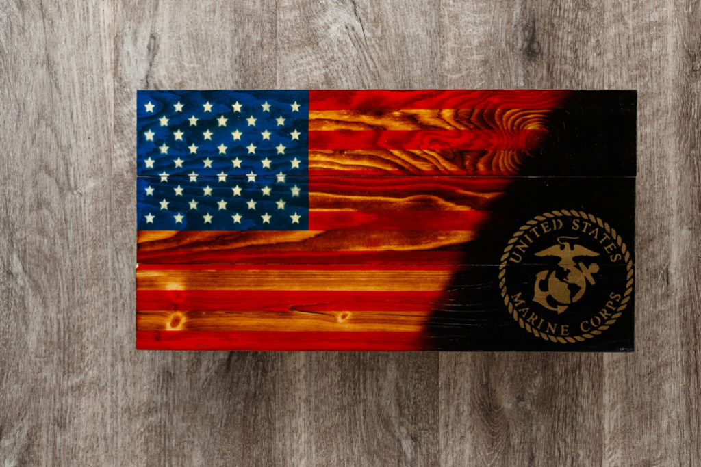 Wooden Marines flag art
