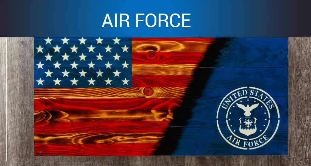 Air force wooden American flags