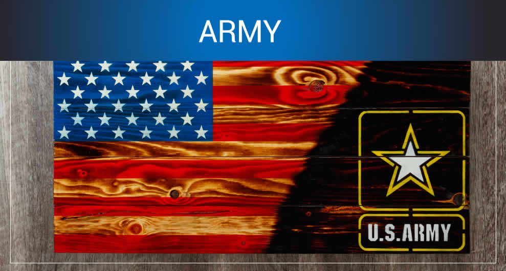 Army wooden American flags