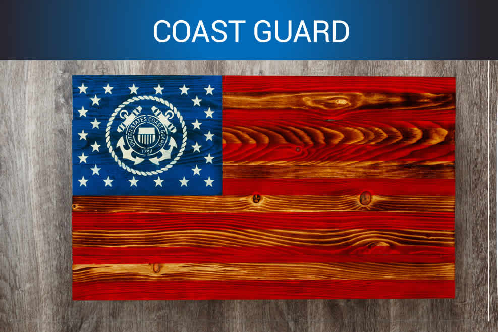 Coast Guard wooden American flags