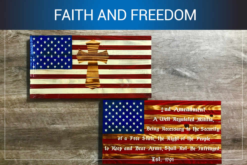 Faith and freedom American flag wooden wall art