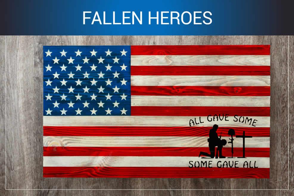 Fallen heroes wooden American flags