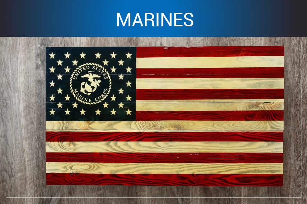 Marines wooden American flags