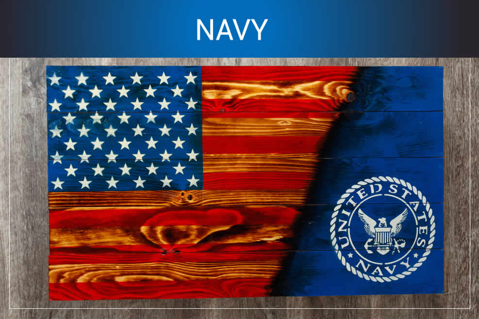 Navy wooden American flags