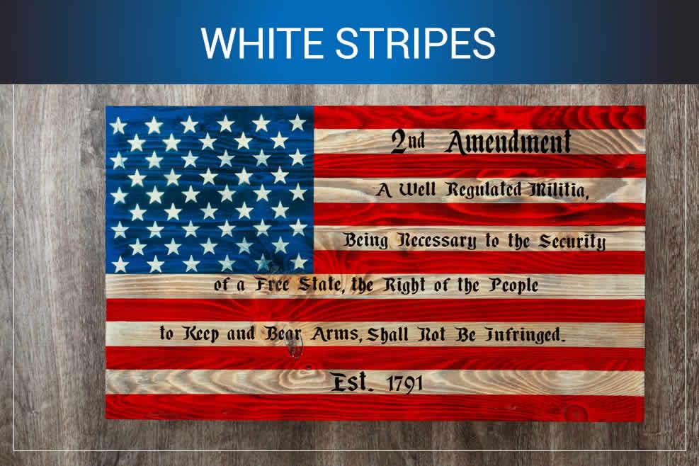 White stripes wooden American flag art