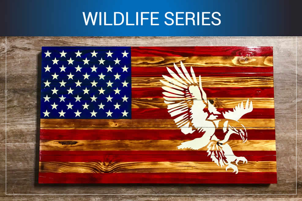American Flag wildlife wall art
