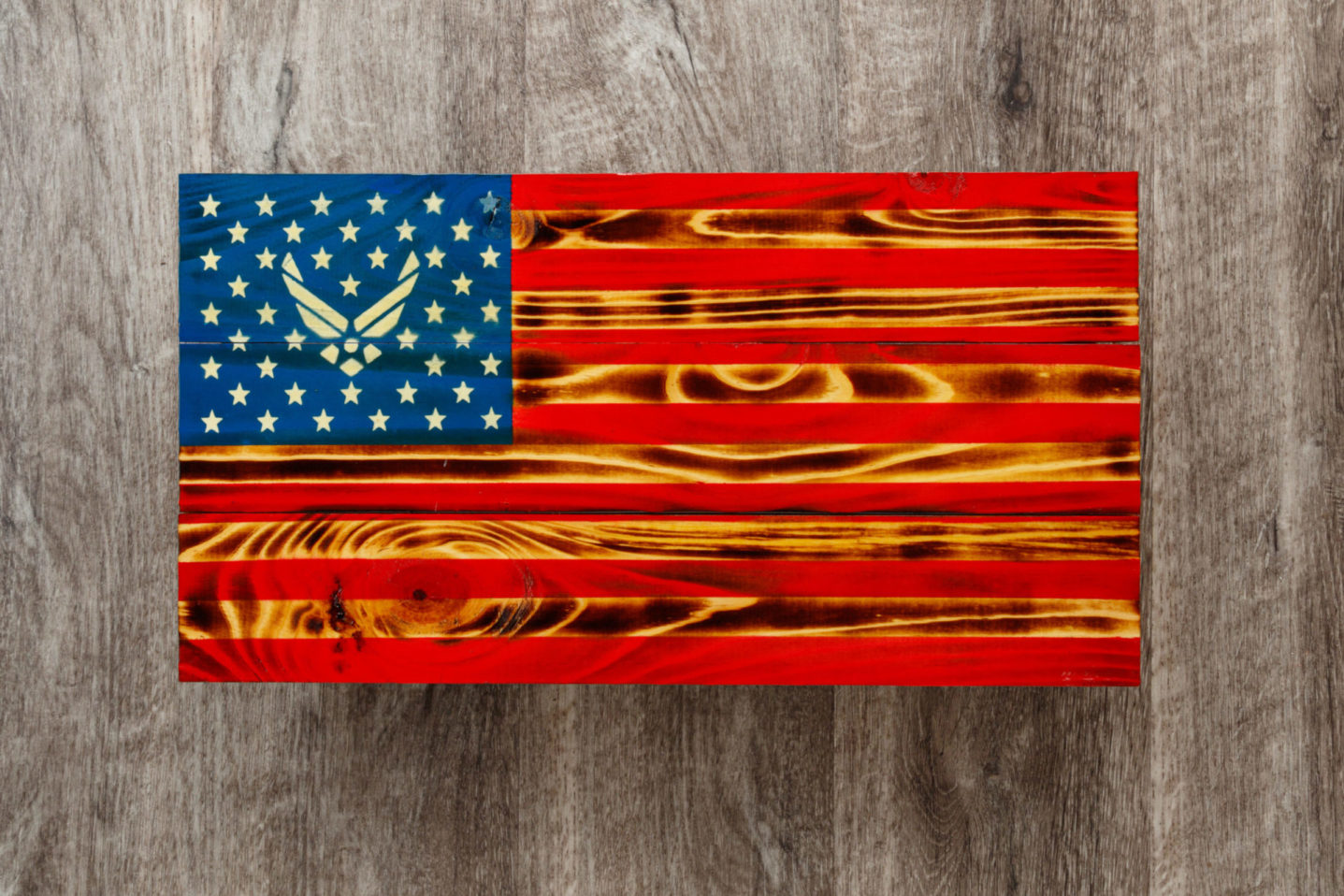 Air force wooden American flag wall art