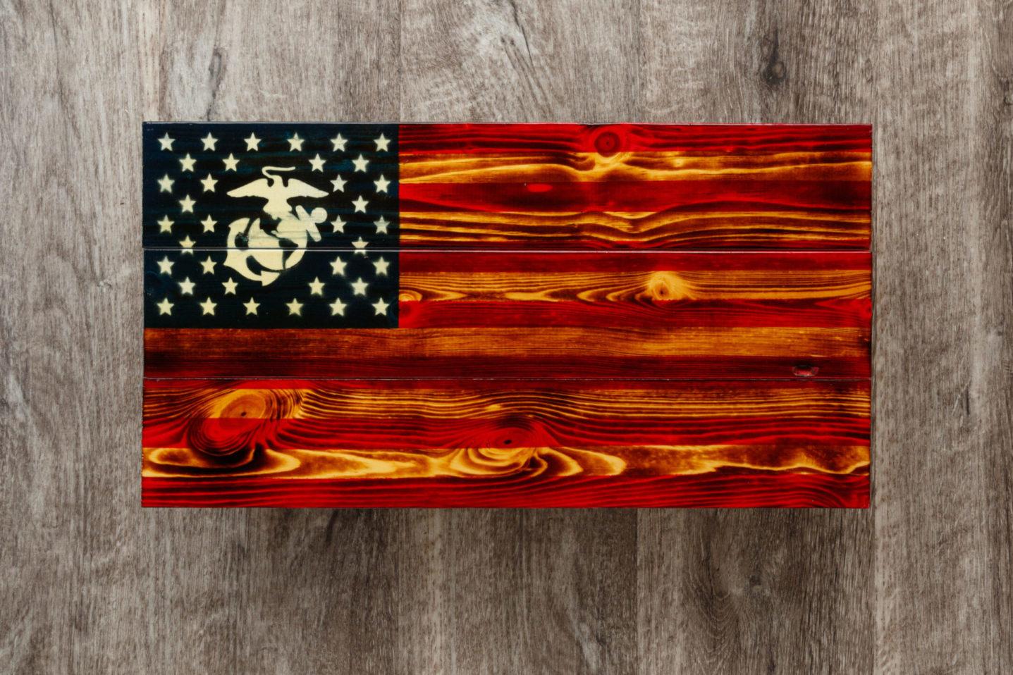 Marines wooden American flag wall art
