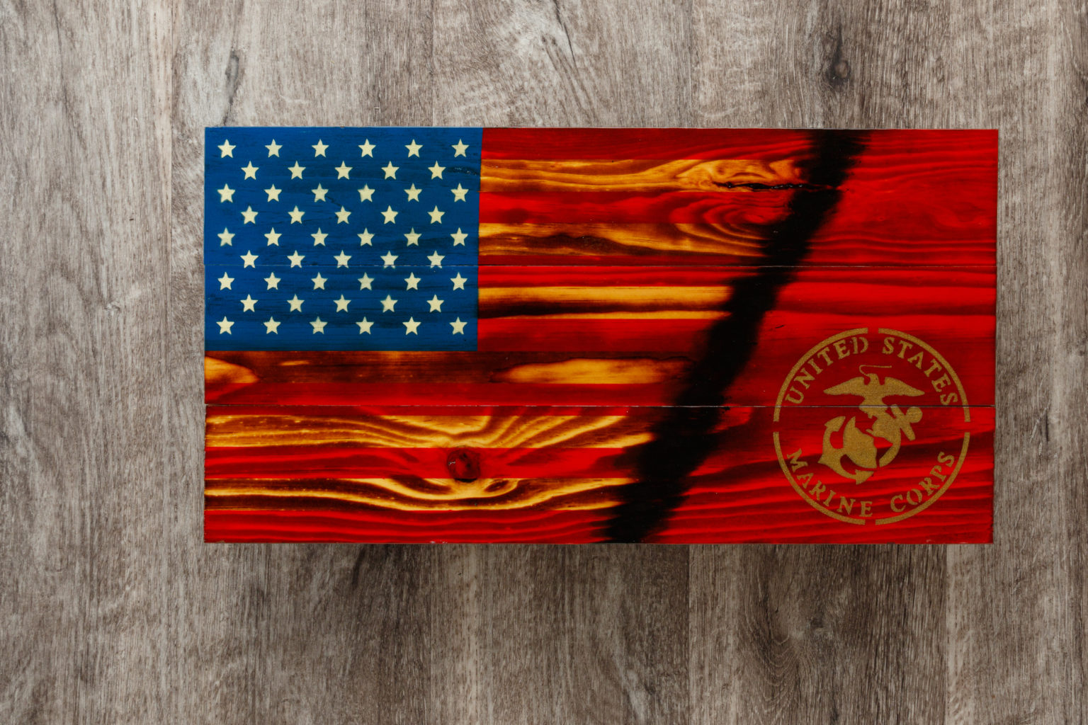 Marines wooden American flag wall art