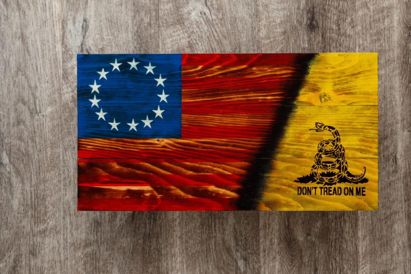 Gadsden wooden American flag wall art