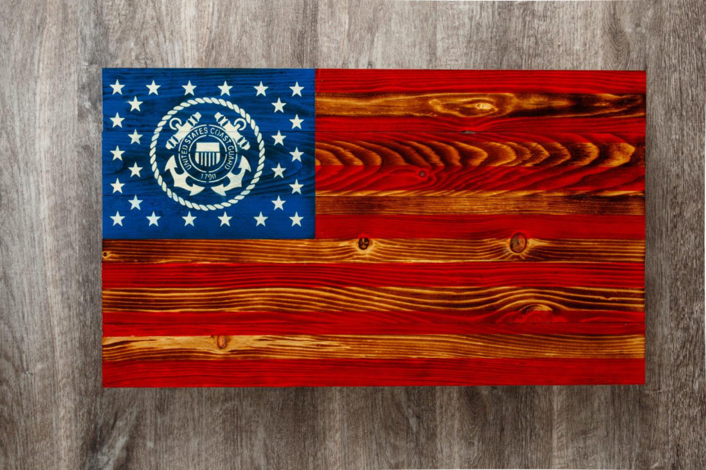 Coast Guard wooden American flag wall art