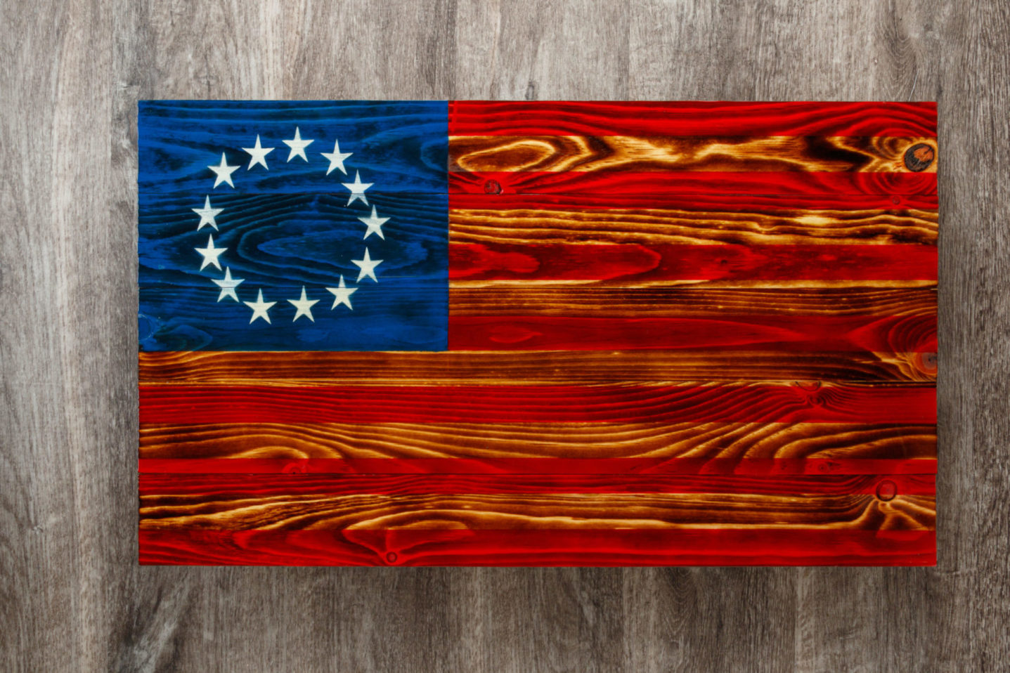 Betsy ross wooden American flag wall art