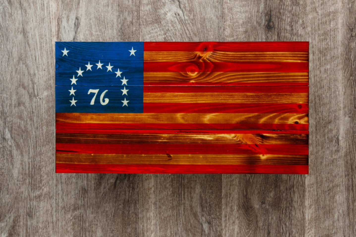 Bicentennial wooden American flag wall art