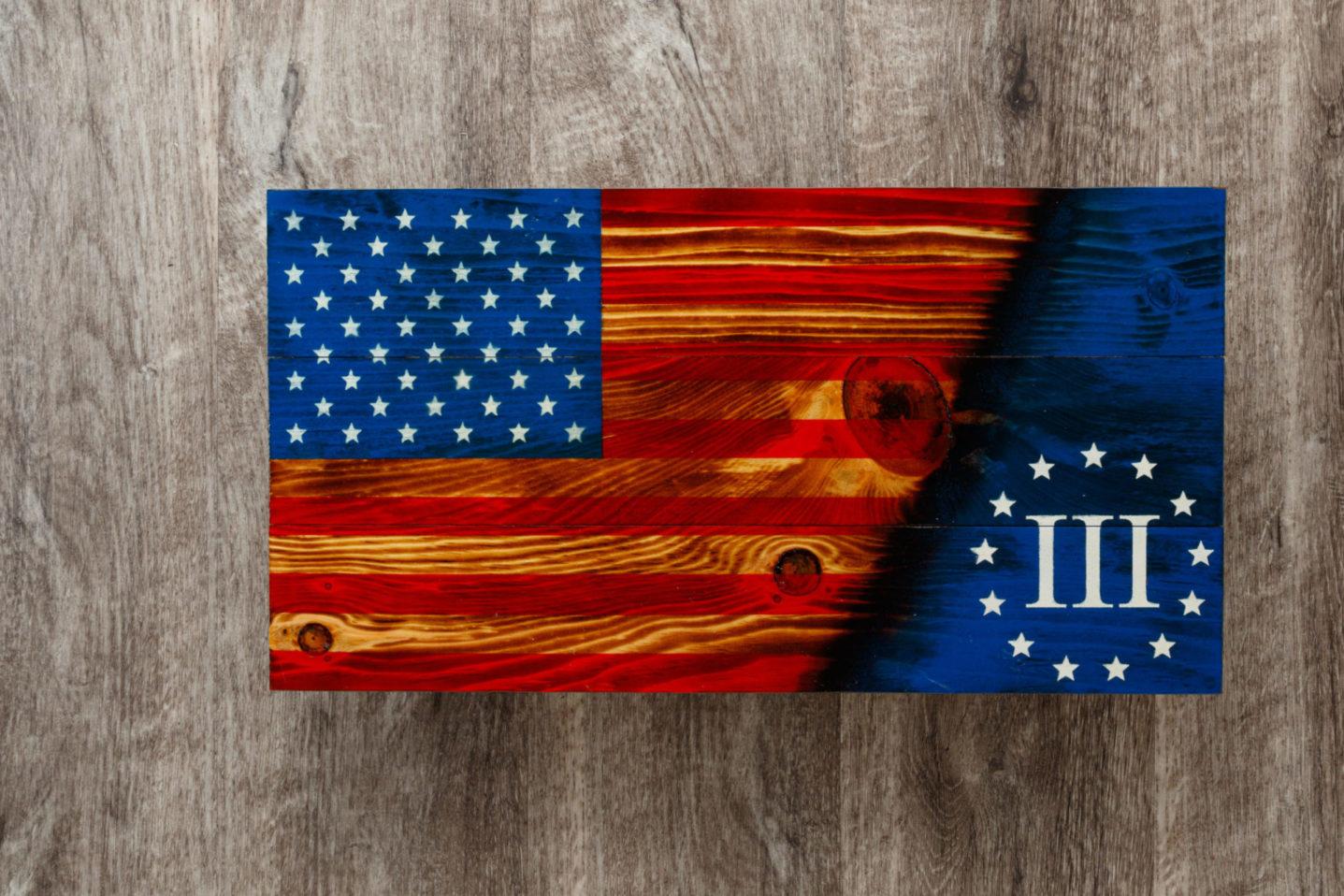 13 star wooden American flag wall art