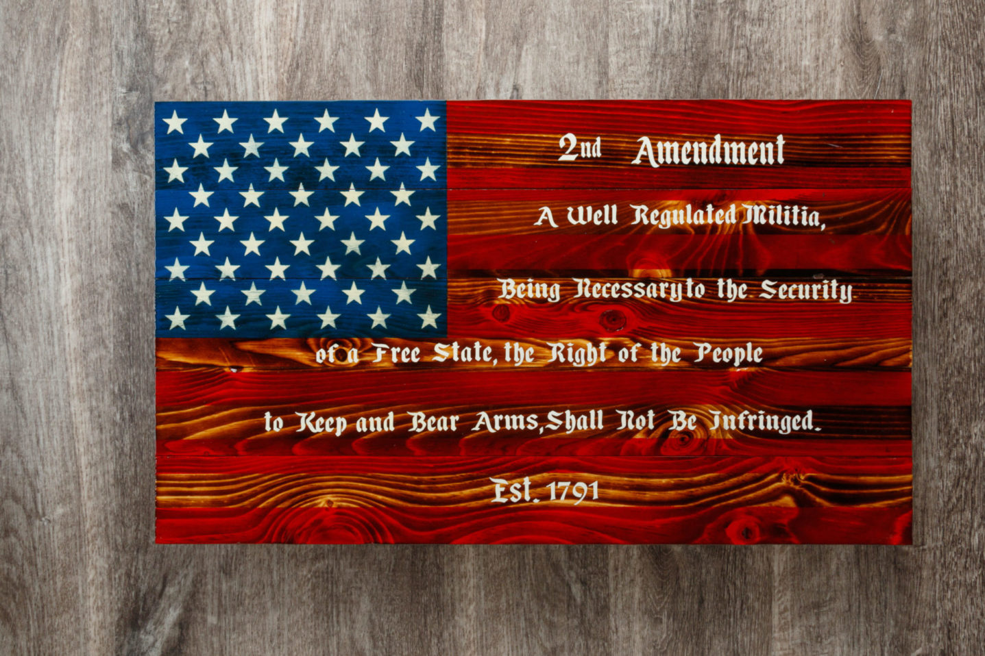 2nd amendment wooden American flag wall art