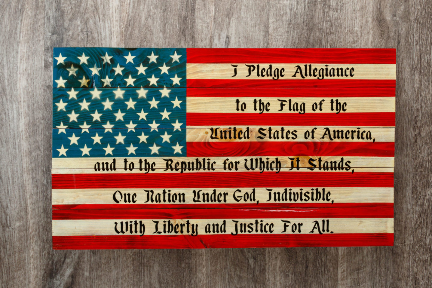Pledge of Allegiance wooden American flag wall art