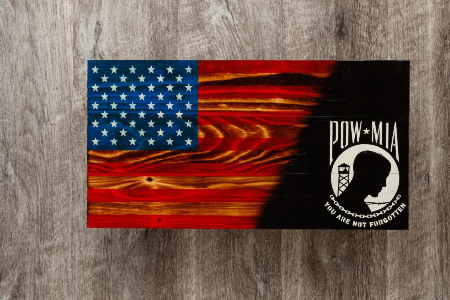 POW MIA wooden American flag wall art