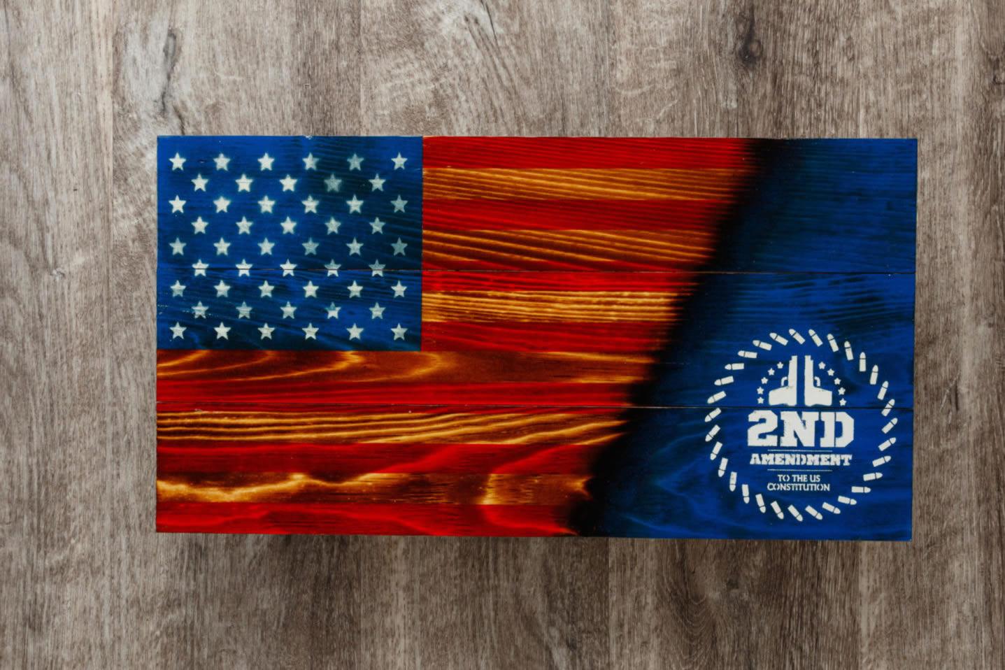 2nd Amendment wooden American flag wall art