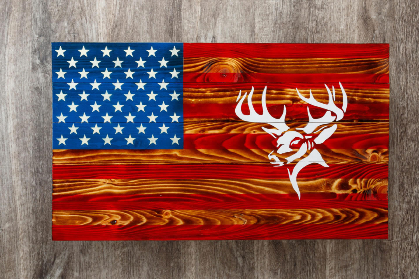 Wooden deer American flag wall art