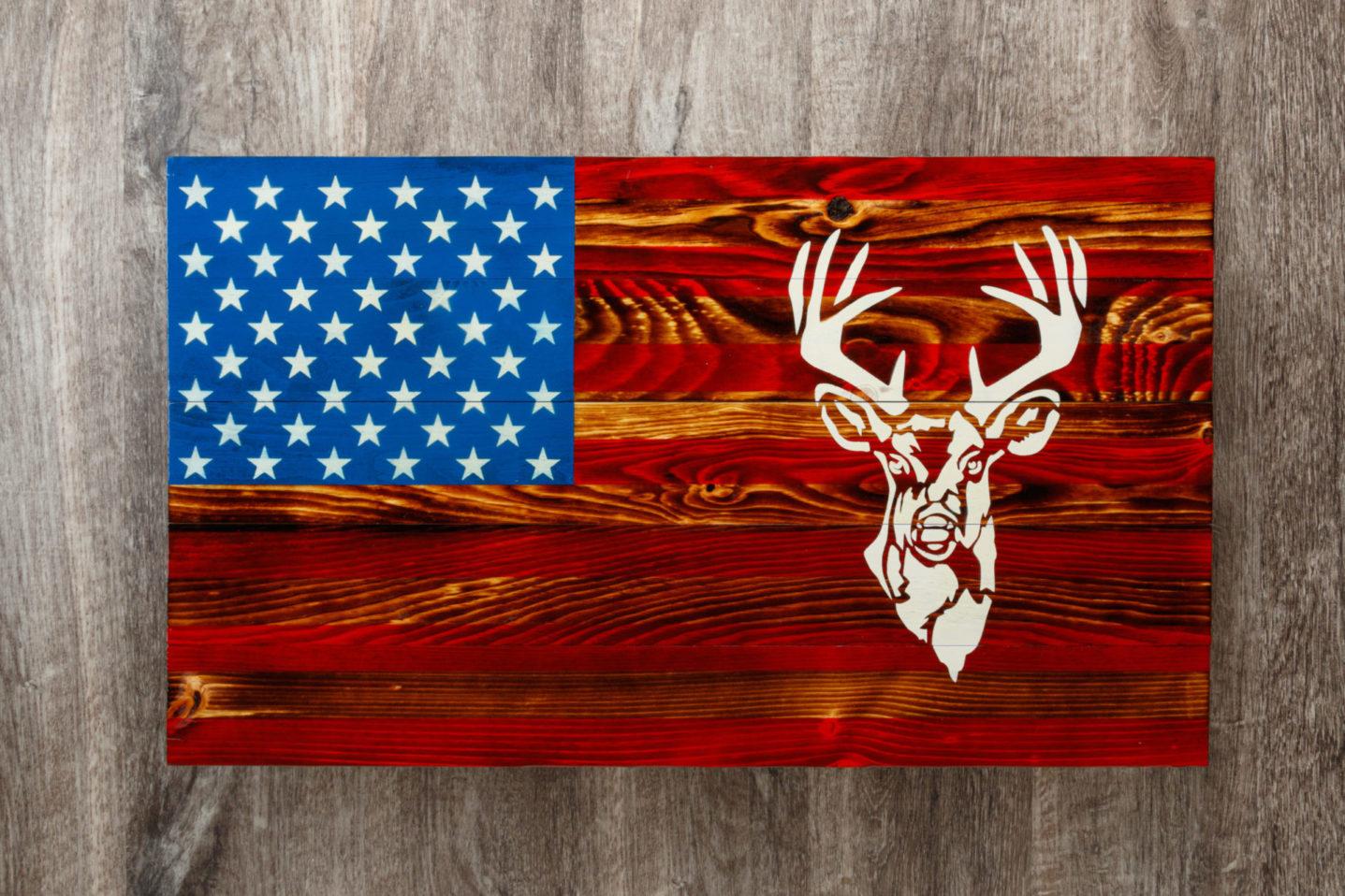 Deer wooden American flag wall art