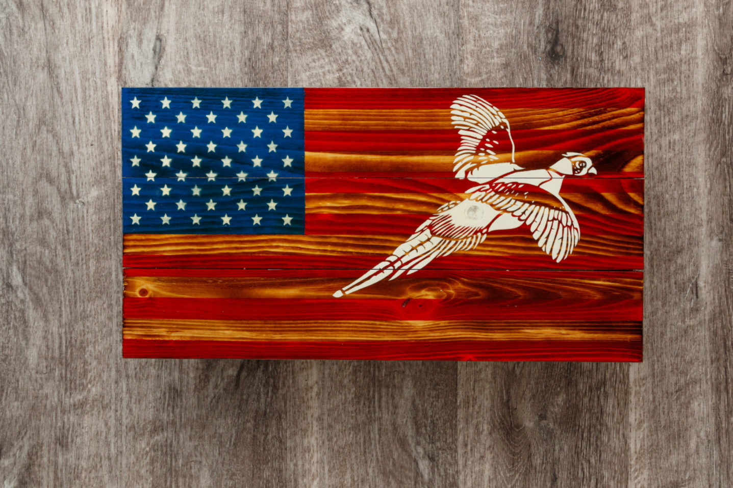 Pheasant wooden American flag wall art