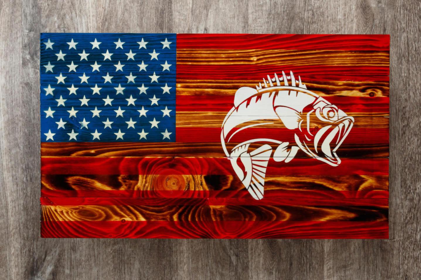 Bass wooden American flag wall art