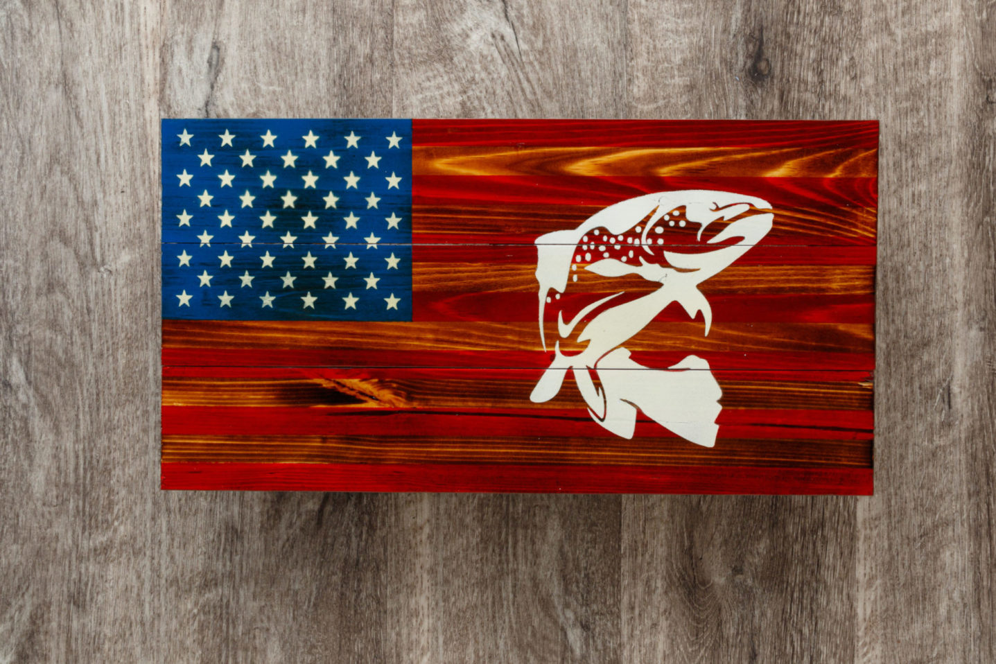 Trout American flag wall art