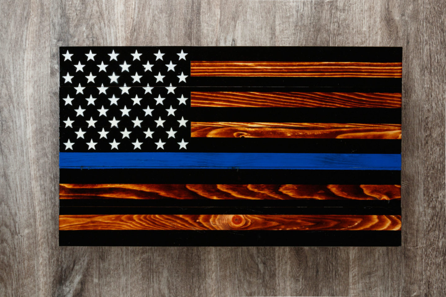 Thin blue line wooden American flag wall art