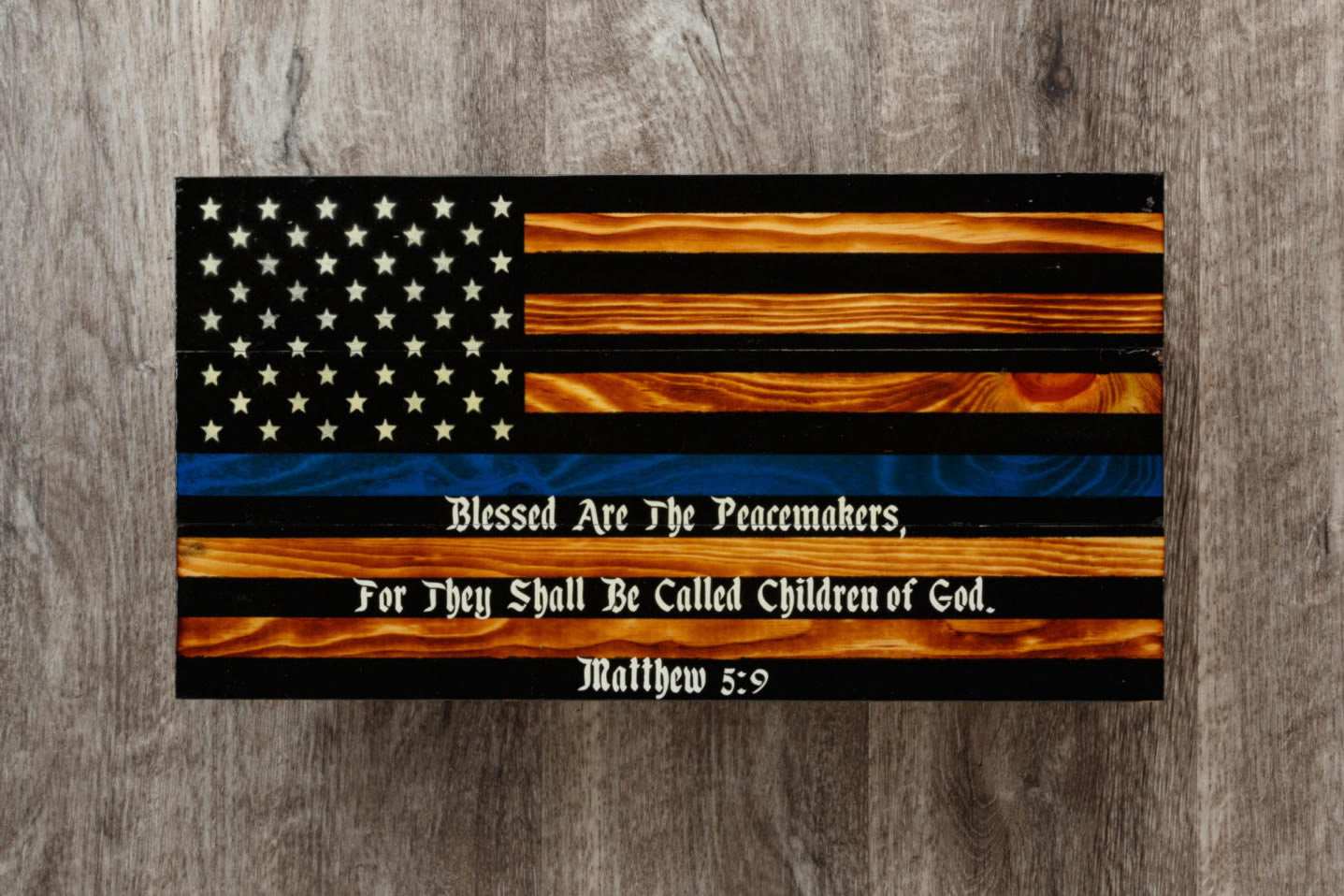 Blue line wooden American flag wall art