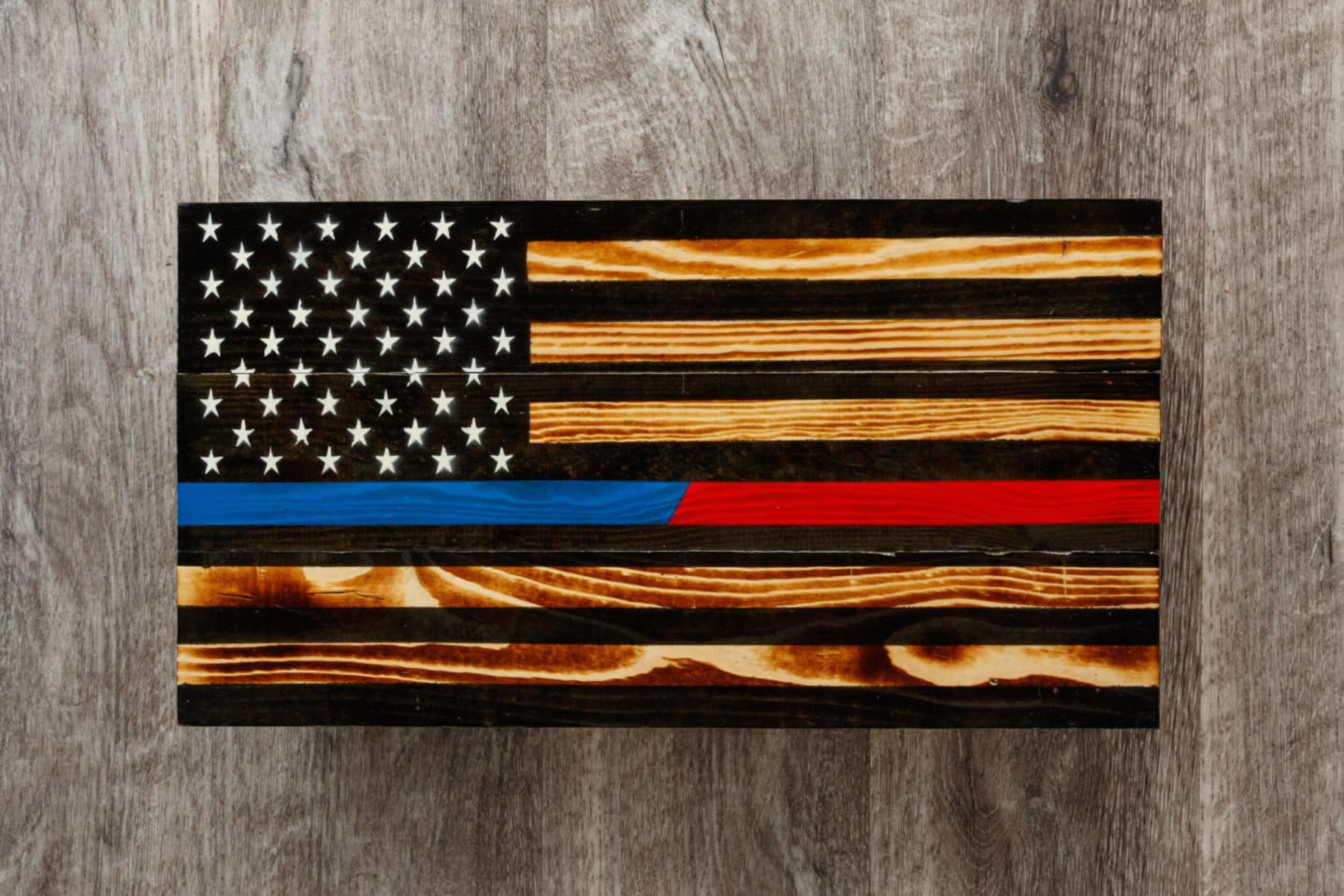 Blue Red line wooden American flag wall art