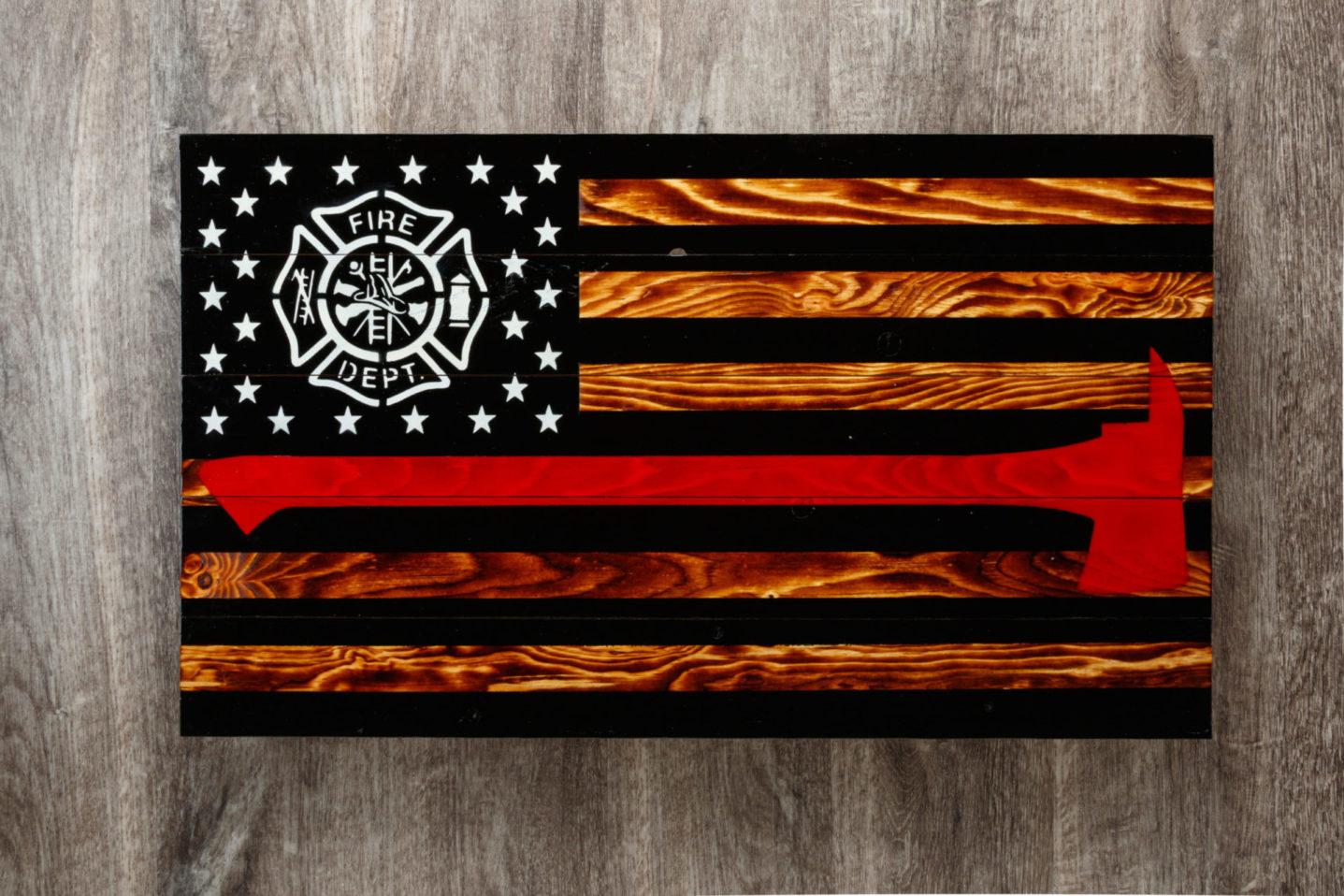 Firefighter wooden American flag wall art