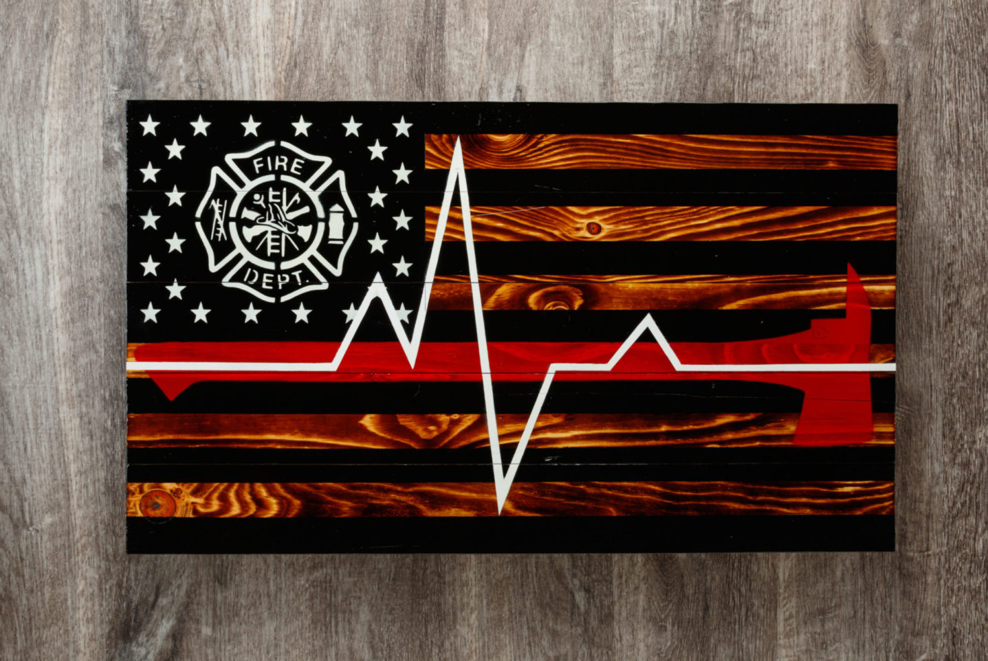 Paramedic wooden American flag wall art