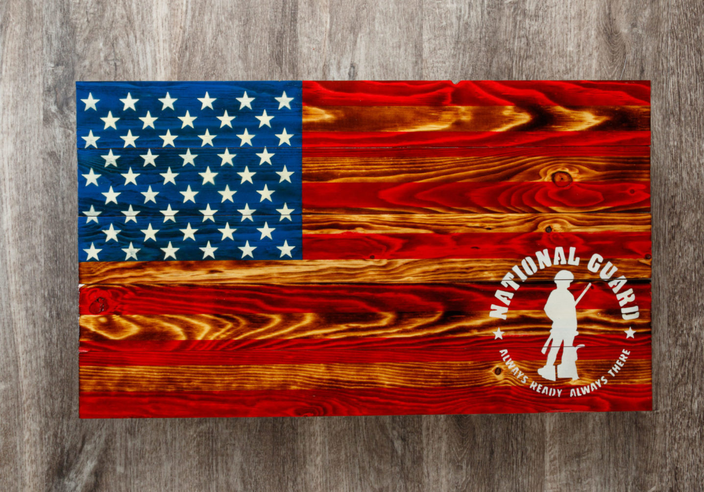 Army national guard wooden American flag wall art