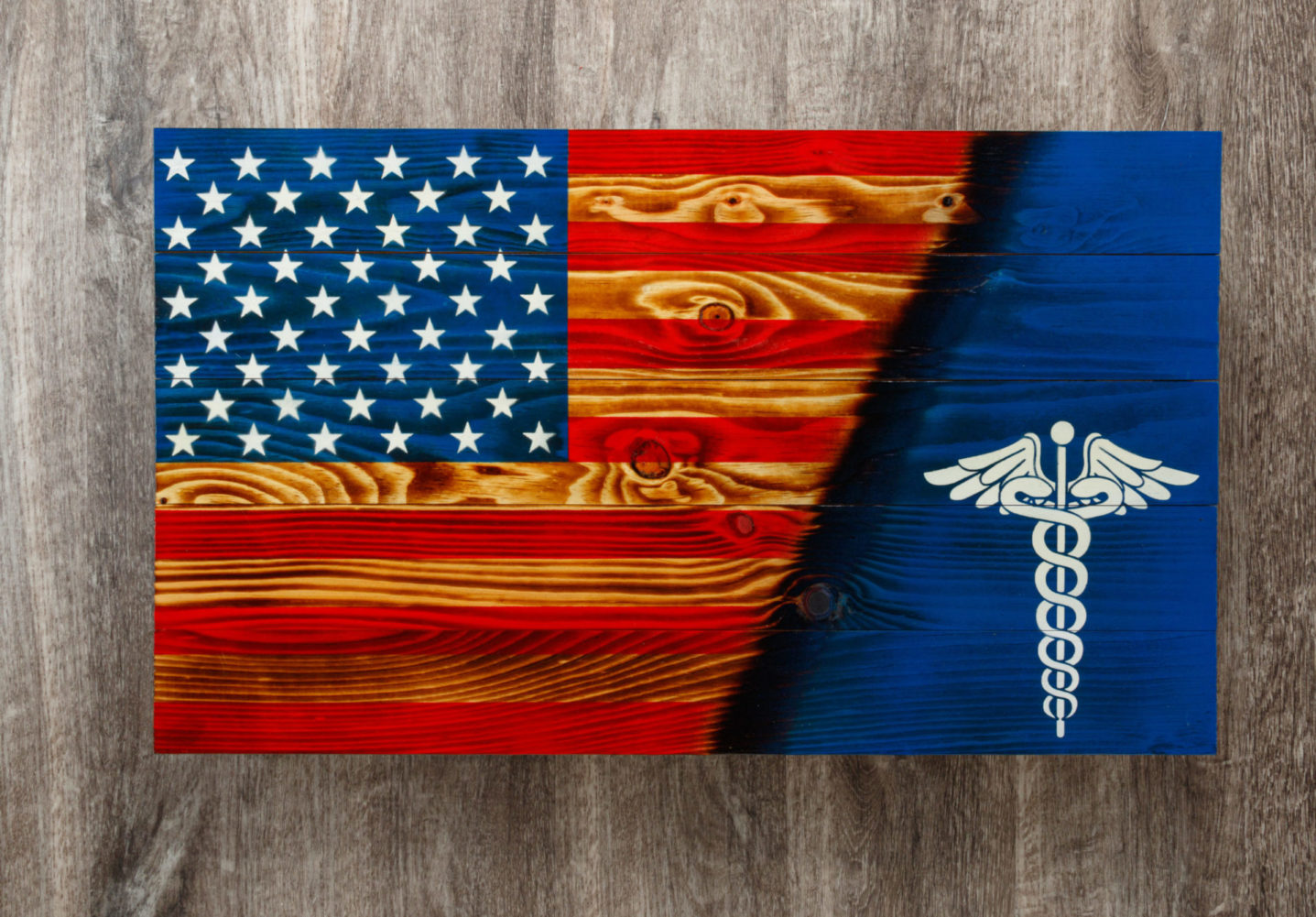 Medical Caduceus wooden American flag wall art