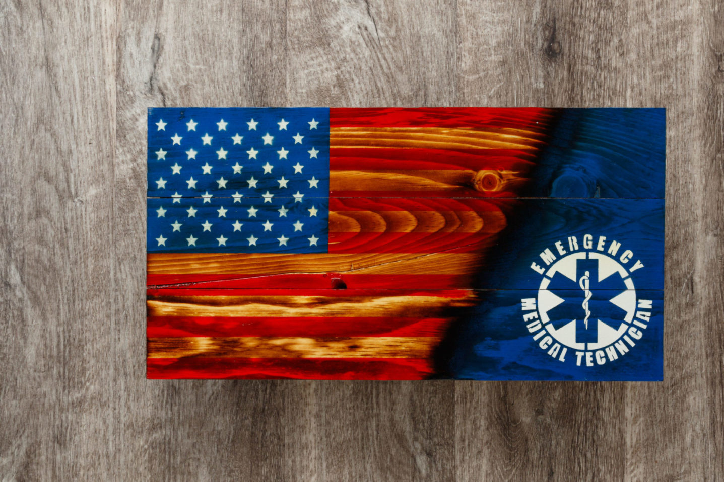 EMT wooden American flag wall art