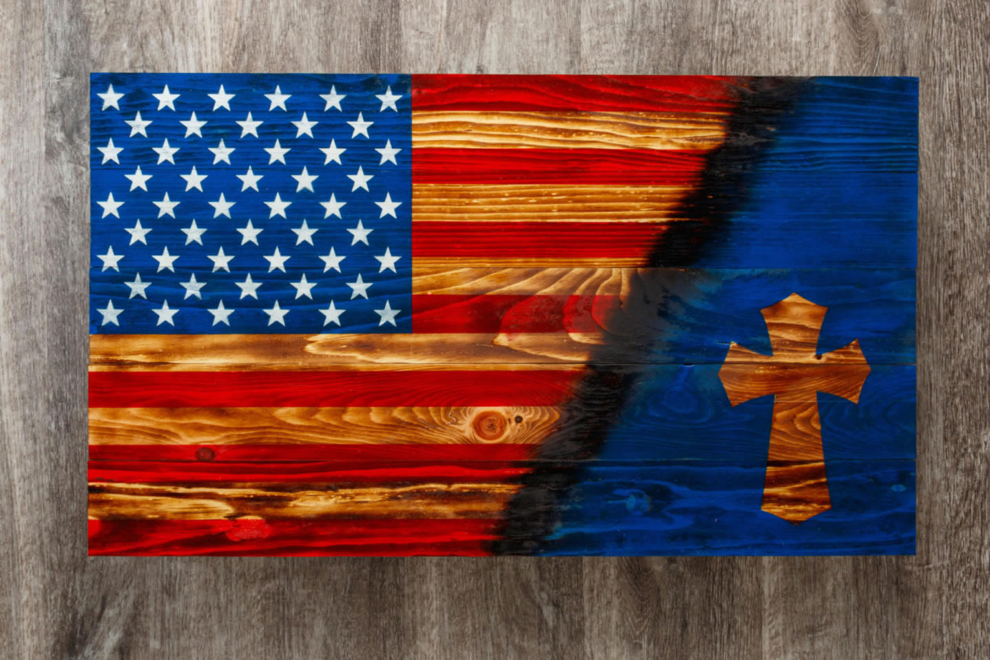 Celtic Cross wooden American flag wall art