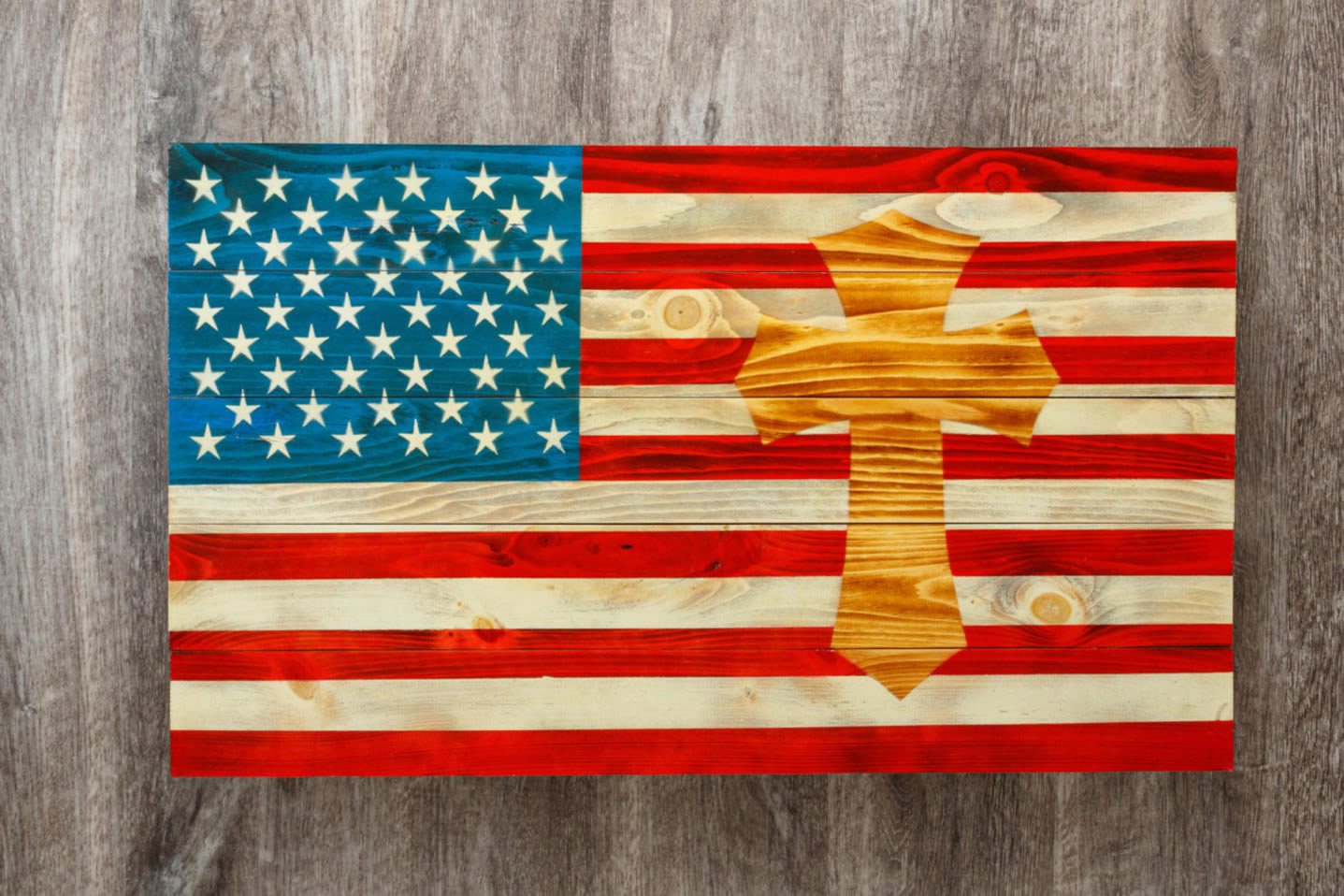 Celtic Cross wooden American flag wall art