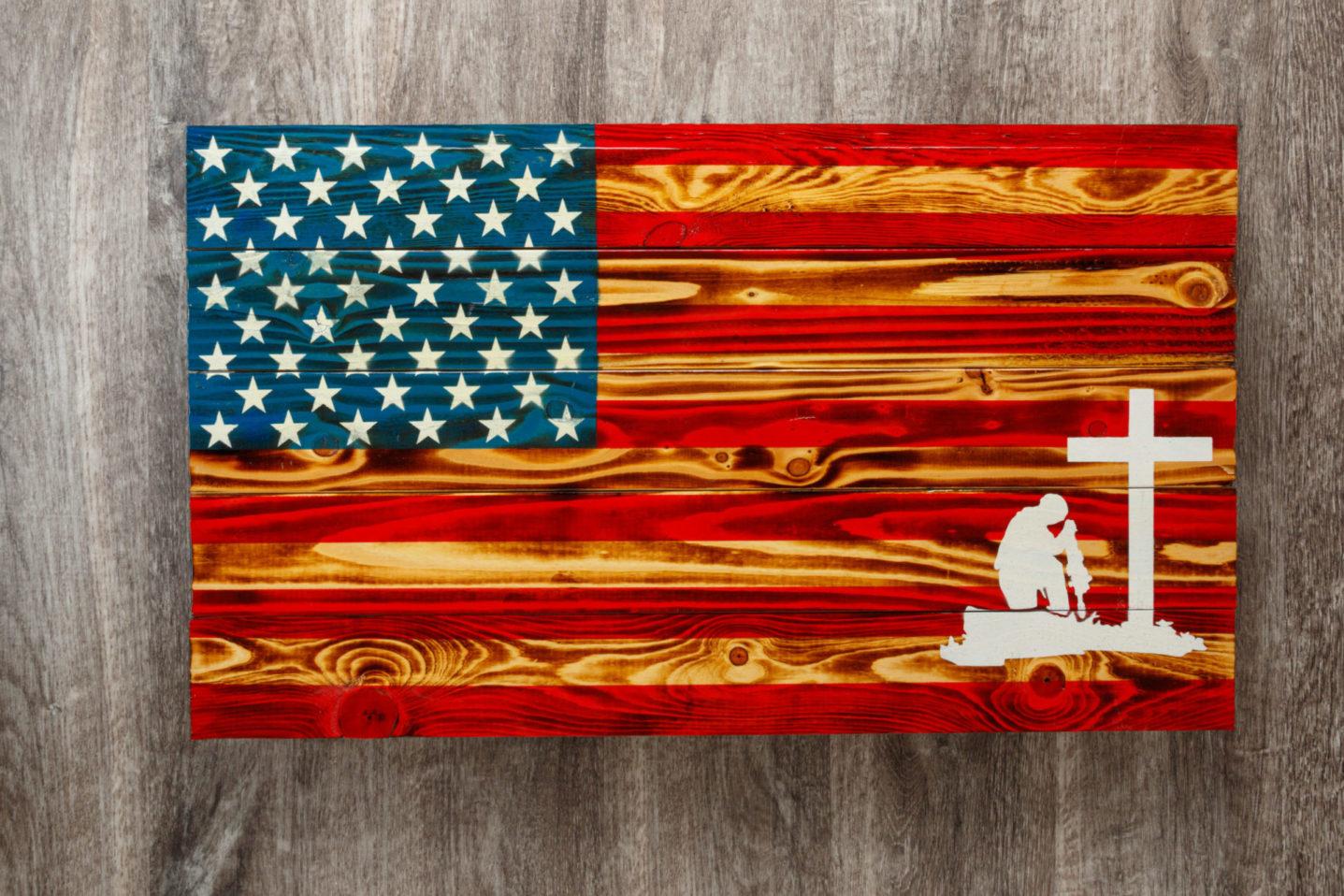 Fallen soldier wooden American flag wall art