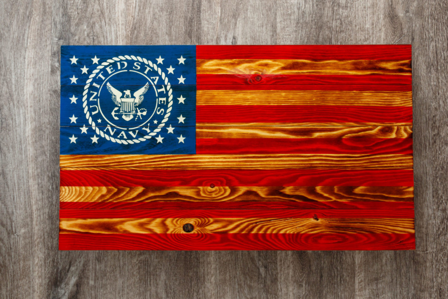 Navy wooden American flag wall art