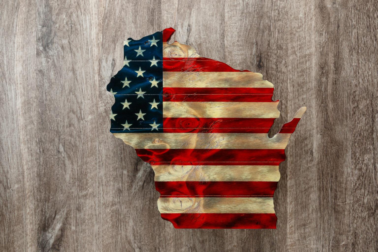 Wisconsin wooden American flag wall art